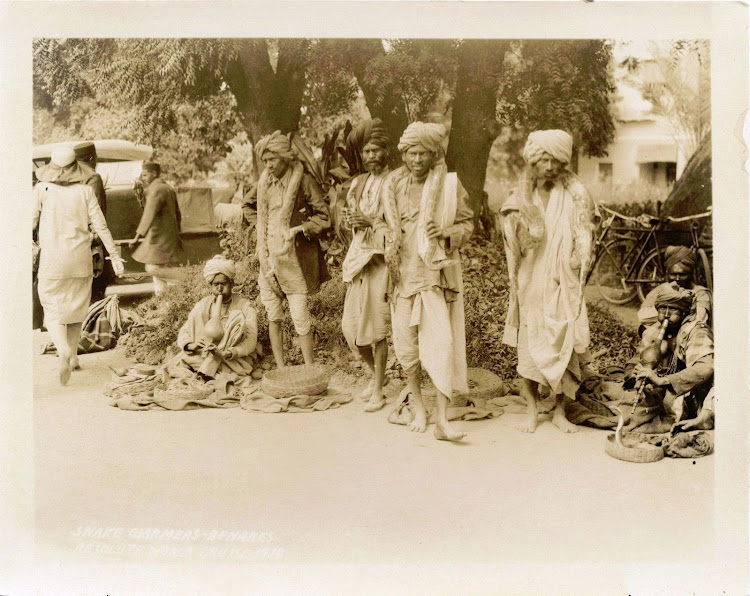 Group of Snake Charmers on the Street of Benares (Varanasi) - 1929