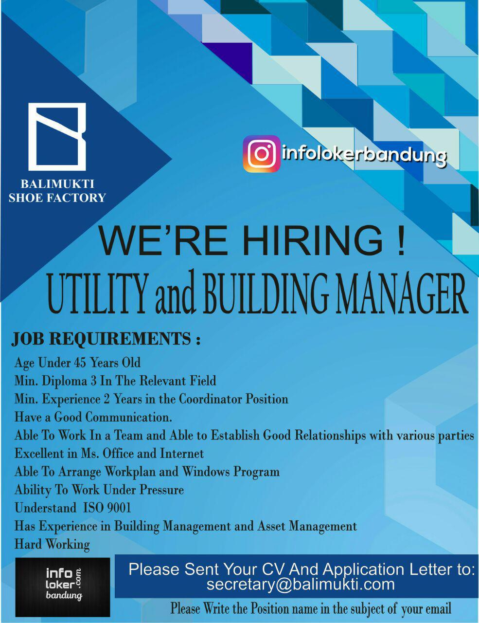 Lowongan Kerja Utility & Building Manager Bali Mukti Shoe Factory Bandung September 2017