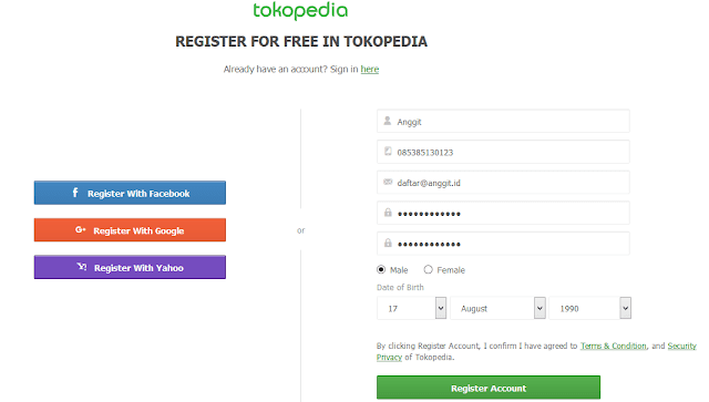 Register di Tokopedia
