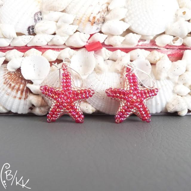 kolczyki peyote rozgwiazdy | peyote starfish earrings