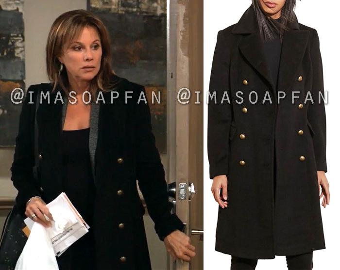 Alexis Davis, Nancy Lee Grahn, Long Black Double-breasted Coat, General Hospital, GH