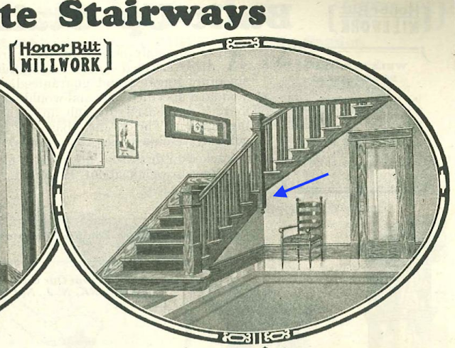 Sears staircase image from catalog, showing angled newel