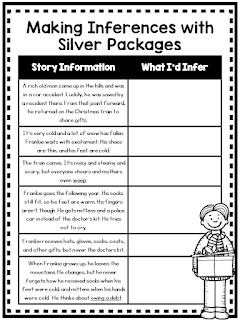 This column notes FREE resource features Silver Packages. It is part of a lesson on making inferences. Check out this post for more details and to download this free lesson.