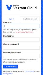 Crear cuenta Vagrant Cloud