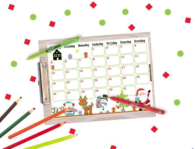 december kalender printen, gratis kalender, aftelkalender kerst
