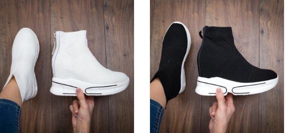 Sneakersi Sunemi albi, negri inalti din panza