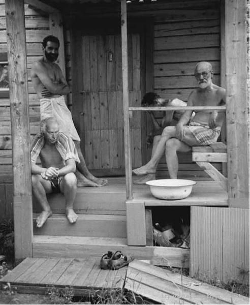 Freud & Jung relaxing with friends at a Turkish banya during a psychoanalysts' retreat, ca. 1907