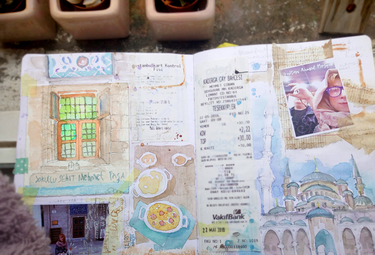 Istanbul sketch sketchbook watercolor travel blog