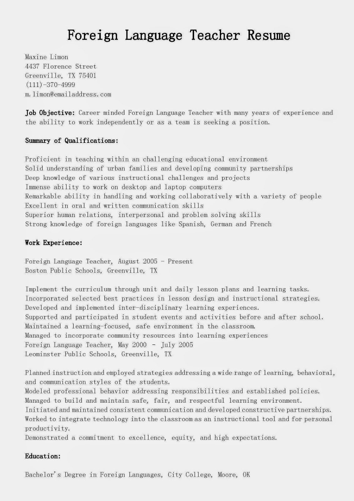 resume samples  foreign language teacher resume sample
