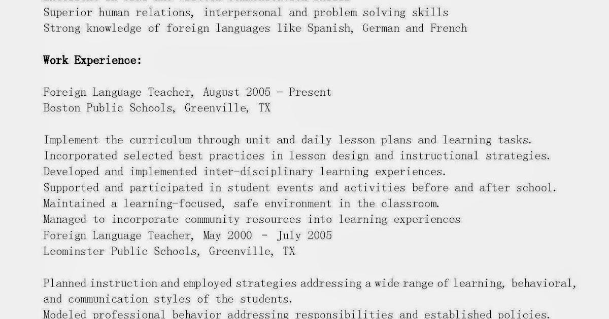 Resume Samples Foreign Language Teacher Resume Sample