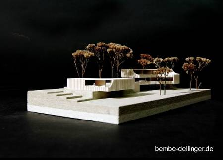 Vista en perspectiva de la maqueta del proyecto de villa en Bavaria