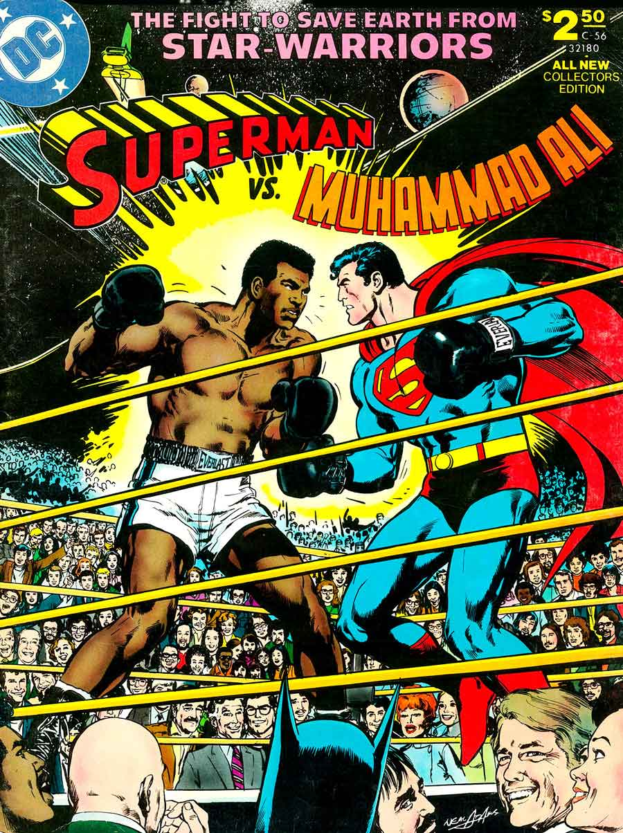 Superman vs. Muhammad Ali dc comic book cover art by Neal Adams