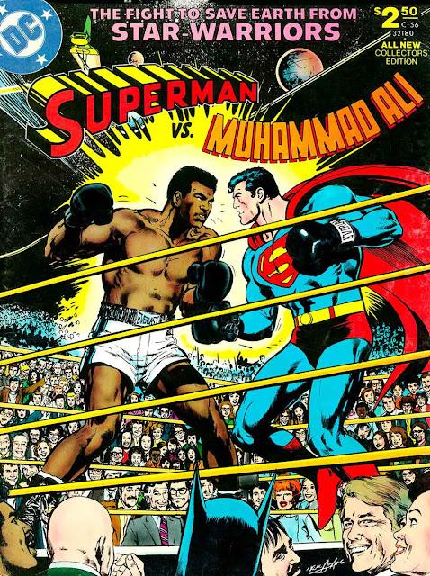 Superman vs. Muhammad Ali dc comic book cover art by Neal Adams