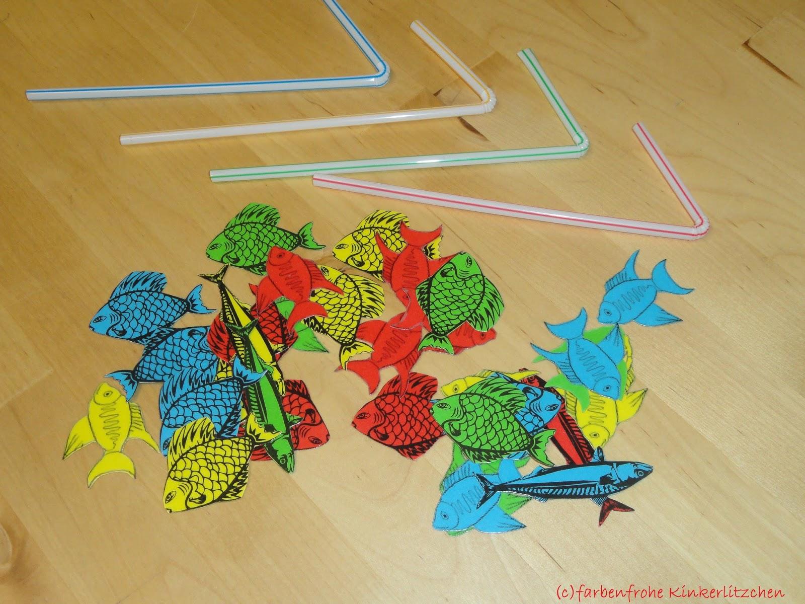 Farbenfrohe Kinkerlitzchen: Spiel - Strohhalm Angeln