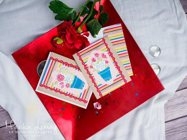 cartes avec le jeu Stampin' Up! Planté avec amour