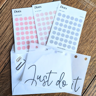 dot stickers and vellum pocket planner insert with the text Just do It