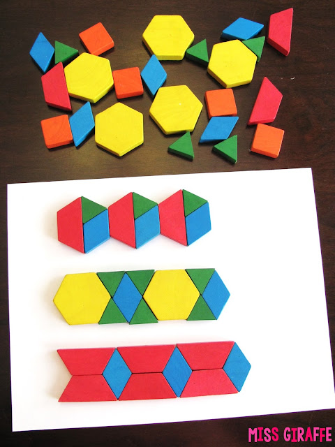 Extend the Pattern activity with pattern blocks and other fun geometry activities for practicing shapes