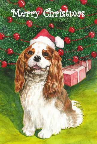 Cavalier King Charles Spaniel watercolour Christmas illustration by artist Jillian Crider
