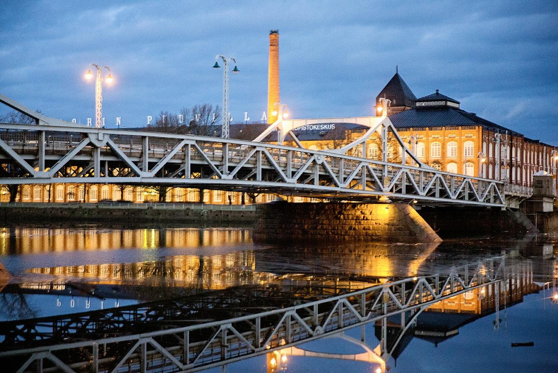 Pori, Charlotta, silta, aamu, matkailu, matkustus, kotimaa, joki, Puuvillatehdas, vanha tehdas