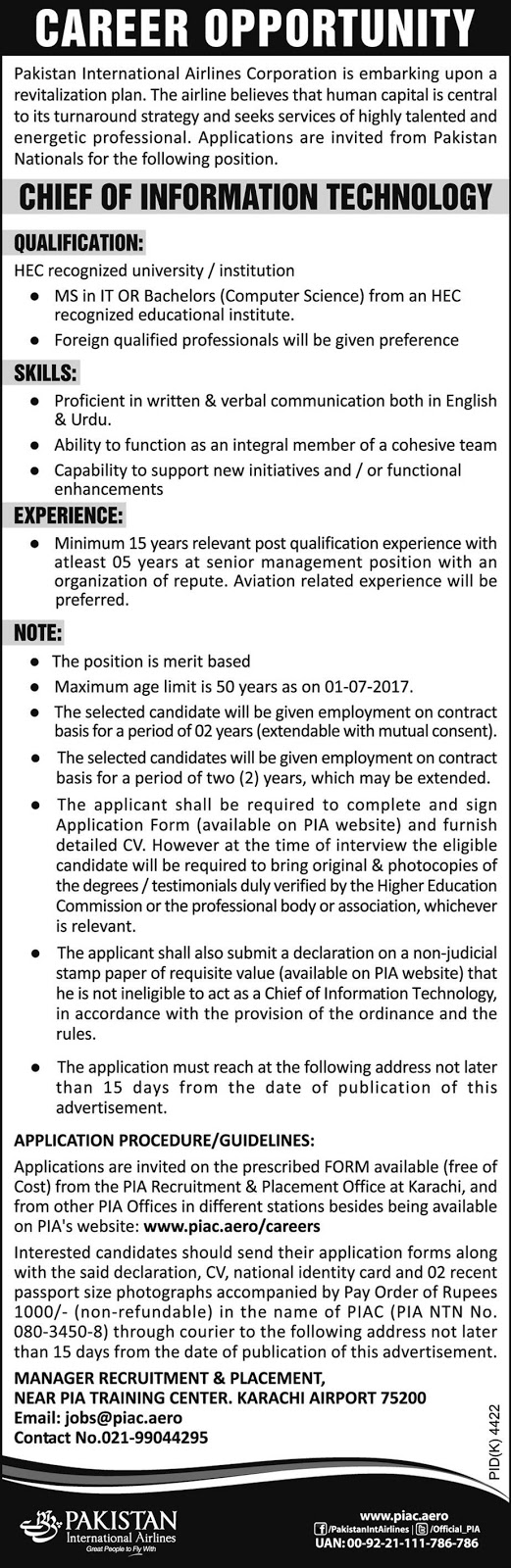 PIA Jobs In Pakistan International Airlines Karachi 20 May 2017