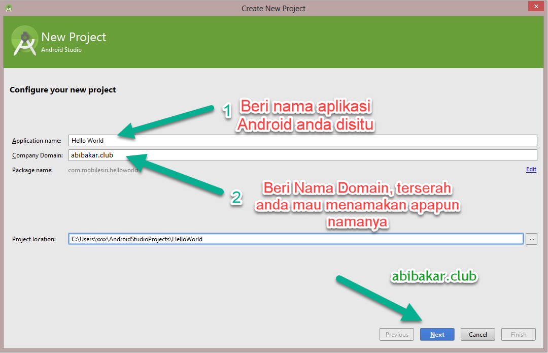 Menamakan Project Aplikasi Di Android Studio