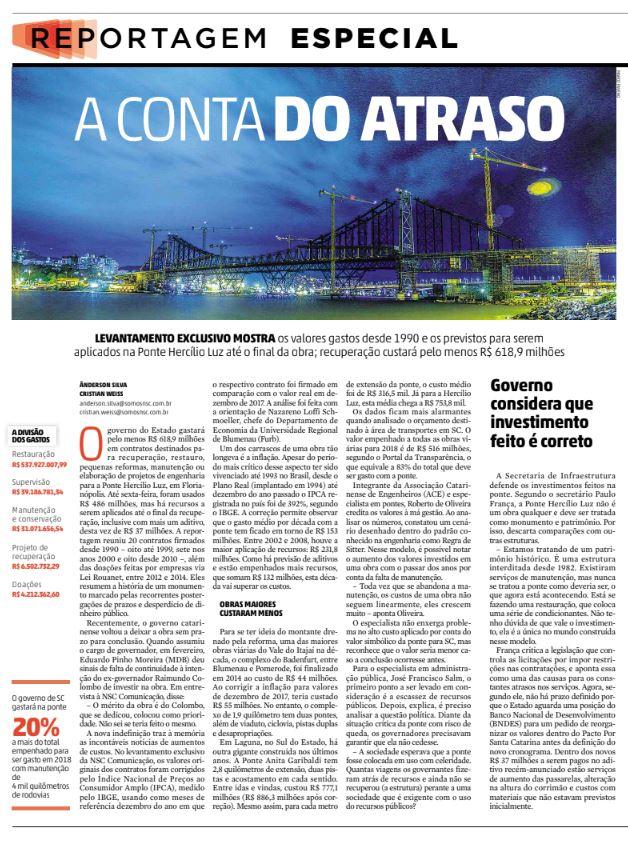 ponte hercilio luz custo milionário total de reforma pelo deinfra em jornalismo de dados de Cristian Edel Weiss e Ânderson Silva para NSC RBS Diario Catarinense Florianópolis