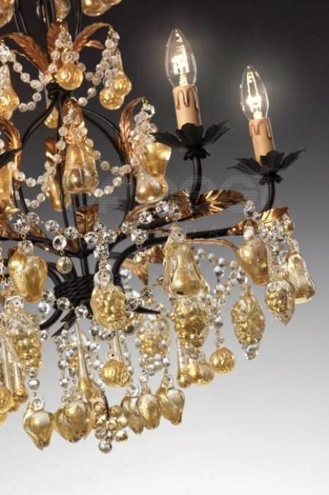 Lucicastiglione fabbrica lampadari  Lampadari decorati a mano con pendenti in vetro di Murano -> Lampadari Moderni Con Pendenti