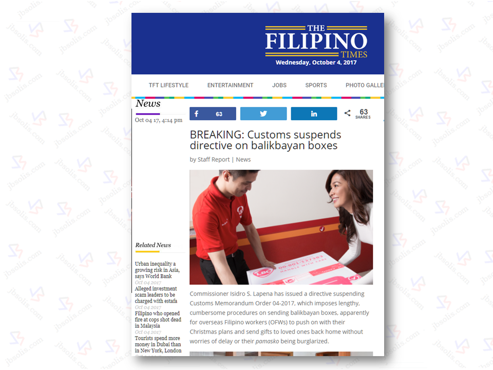 "An unconfirmed report from UAE based news company The Filipino Times said that Commissioner Isidro S. Lapena has issued a directive suspending Customs Memorandum Order 04-2017, which imposes lengthy procedures on sending OFW balikbayan boxes. ""In view of the valid issues raised by stakeholders...the implementation of CAO 05-2016 and CMO 04-2017 and the requirement of registration of deconsolidators are hereby suspended until March 21, 2018,"" Lapeña quoted as saying.  Read: What You Need to know About The New Regulation Regarding the Balikbayan Box Sponsored Links  According to the report, Lapena's directive also formed a team and directed to come up with proposed changes to Customs Administrative Order 05-2016 (CAO 05-2016) and to amend it in accordance with what the stakeholders suggested, indicating that the controversial policy may yet be watered down due to concerns raised by concerned sectors– from OFWs to forwarders and deconsolidators.   The CAO 05-2016 seek to impose stricter procedures on shipping balikbayan boxes; CMO 04-2017 is its implementing guidelines which caused to agitate the OFWs who countered that BOC should go after big time smugglers instead and not their hard-earned balikbayan boxes.  Source: The Filipino Times   Advertisement Read More:       ©2017 THOUGHTSKOTO www.jbsolis.com SEARCH JBSOLIS, TYPE KEYWORDS and TITLE OF AR"