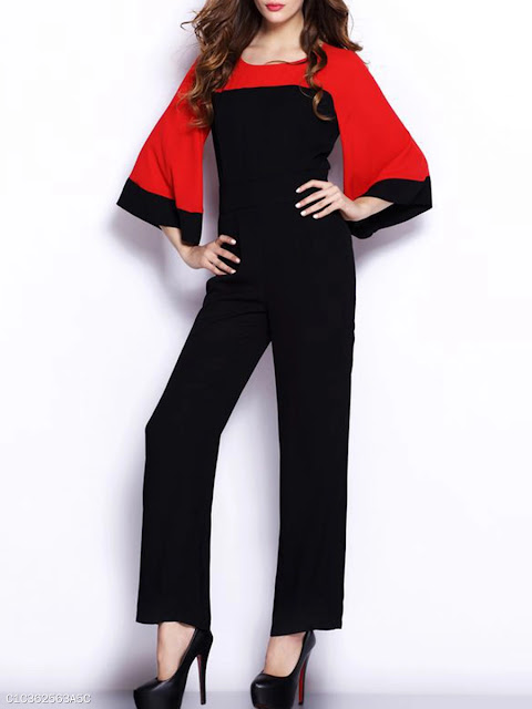 Color Block Bell Sleeve Round Neck Straight Jumpsuit - Black and Red
