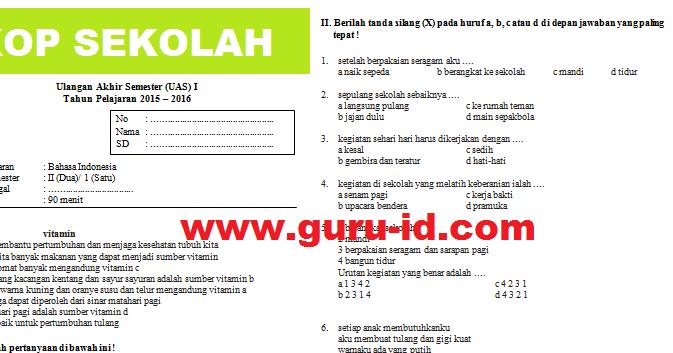 Soal Bahasa Indonesia Kelas 2 Sd Semester 1 Amp 2 Dan Kunci Jawaban Kurikulum 2013 Ktsp Info