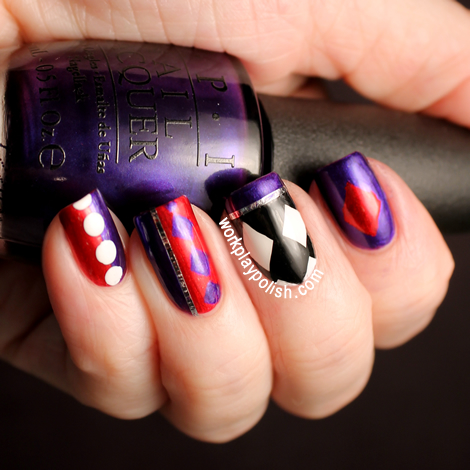 Harley Quinn: OPI Tomorrow Never Dies & Alpine Snow and A-England Perceval (work / play / polish)