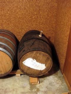 Apple brandy barrel filled with our golden sour beer.