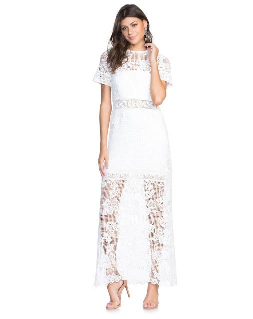 Moda vestido longo pretty branco
