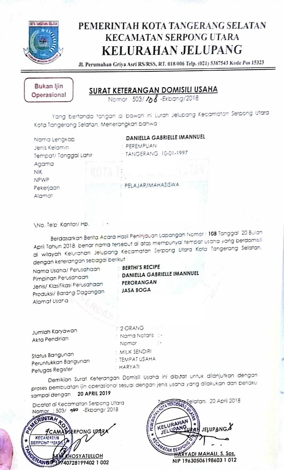 Surat Keterangan Domisili Usaha Tangerang Selatan Surat