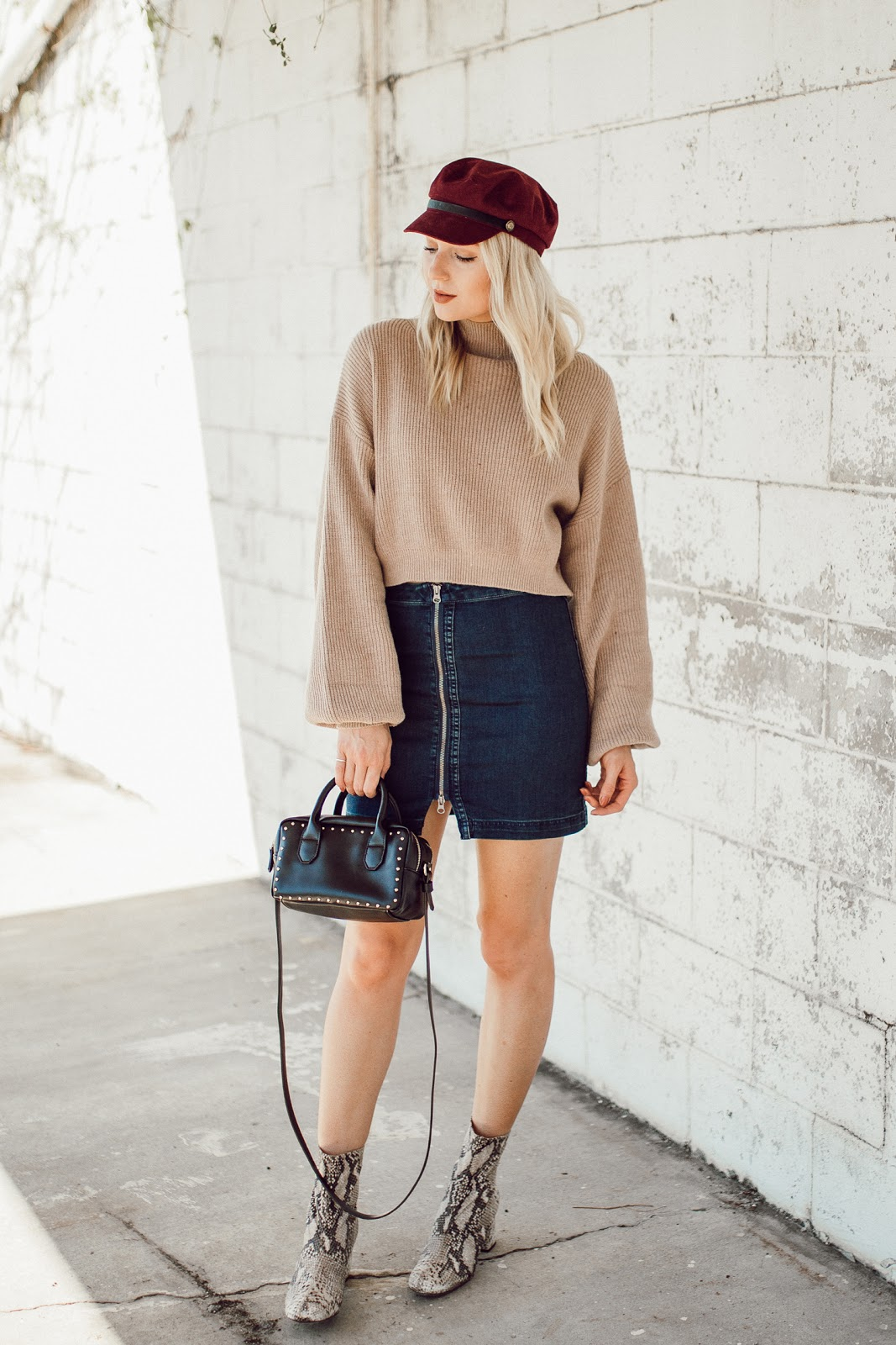 cropped sweater, denim mini, hat + ankle boots