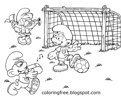 Gargamel Smurf funny coloring book football game Smurfs easy drawings for teenagers art activities