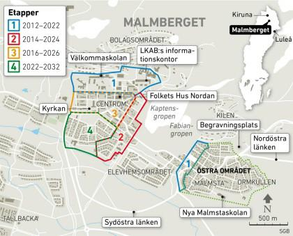 karta över malmberget Gun Ek   från Sveriges Framsida!  : Torget och centrala Malmberget  karta över malmberget