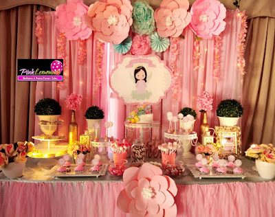 Flower / Light Pink Christening Dessert Buffet