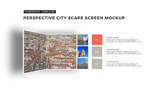 Perspective Folding Effects in Free PowerPoint Template for City Scape Screen Mockup