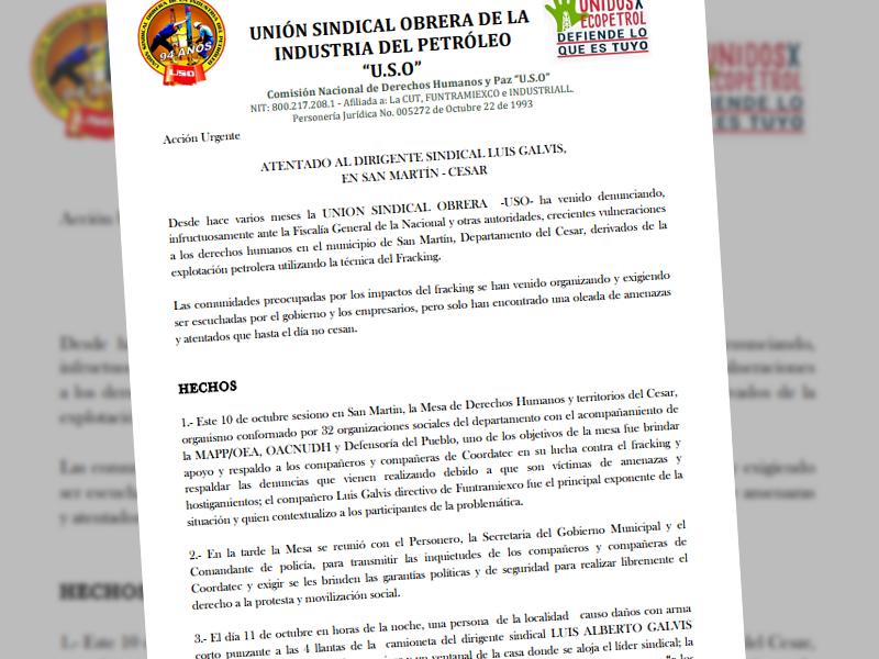Atentado al dirigente sindical Luis Galvis, en San Martín - Cesar
