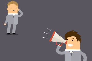 Cartoon image of a man yelling through a megaphone at another man.