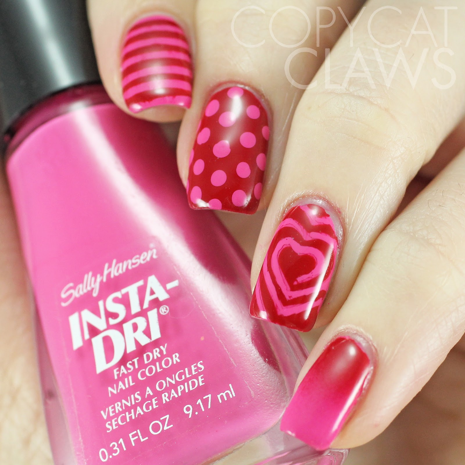 Red Nail Art: Copycat Claws: Pink And Red Skittle Nail Art