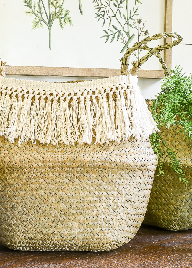 Fringe trim added to simple belly baskets