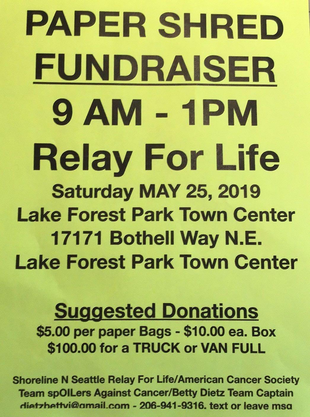 Shoreline Area News: Paper shredding fundraiser for Relay