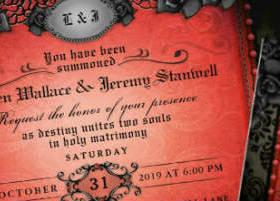 Red Gothic Halloween wedding Invite