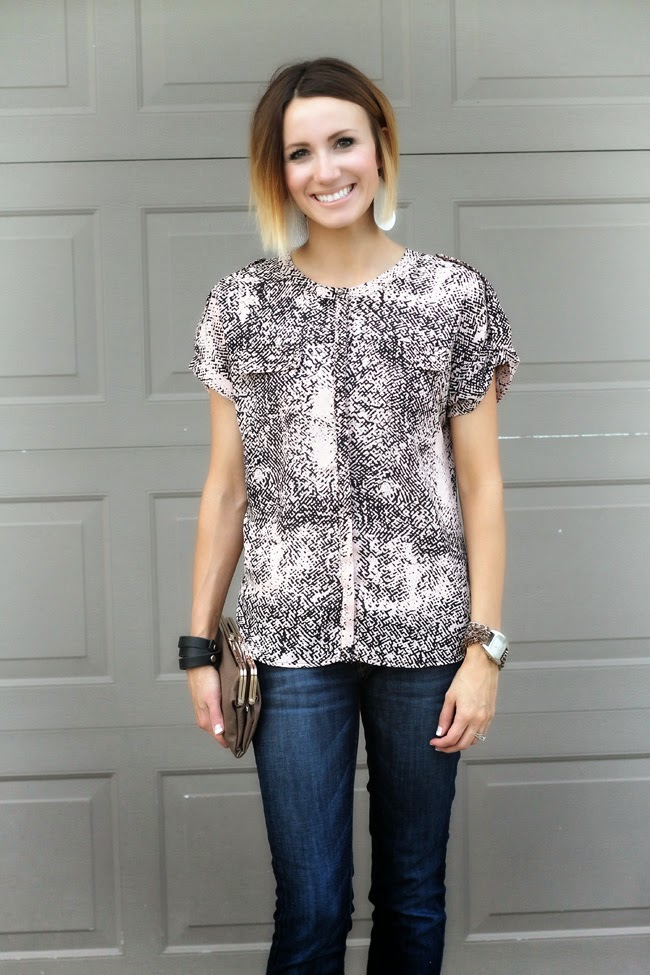 Printed blouse, dark denim, nude perforated heels