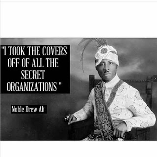 meme of Noble Drew Ali seated with the quote I took the cover off all secret organizations.