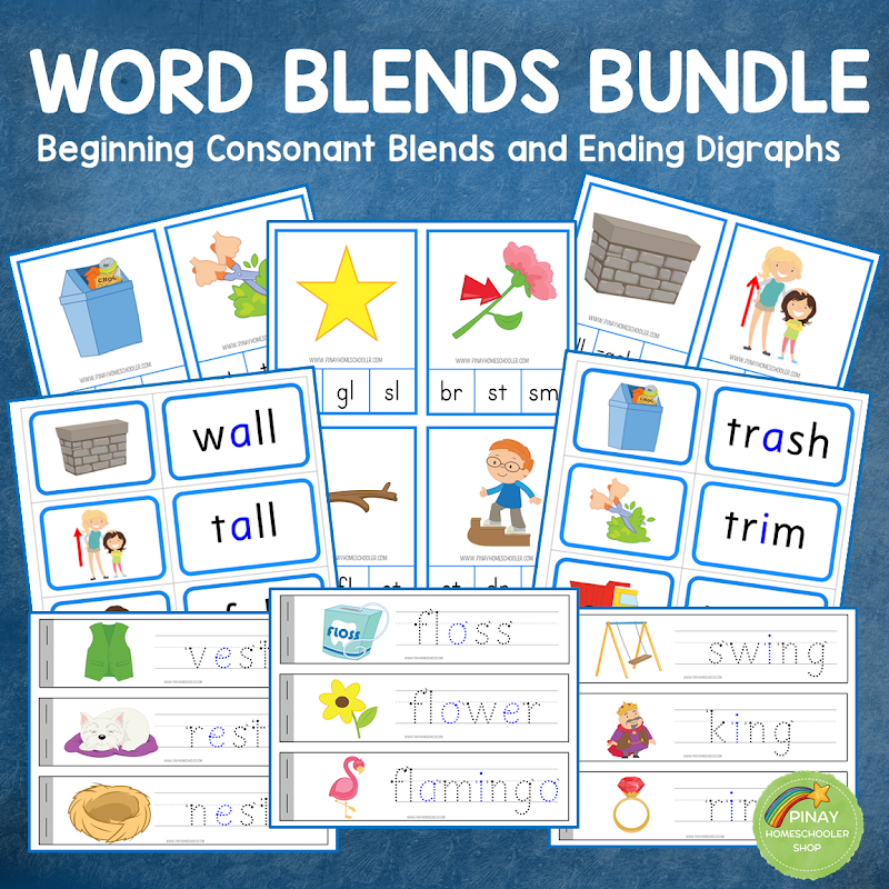 Blue Series: Consonant Blends with Ending Digraphs Learning Material