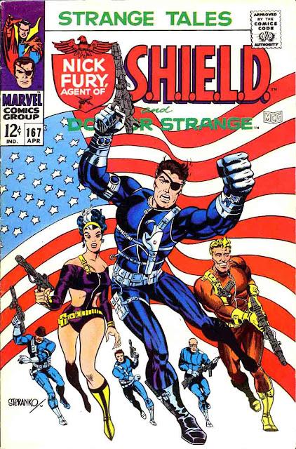 Strange Tales v1 #167 nick fury shield comic book cover art by Jim Steranko