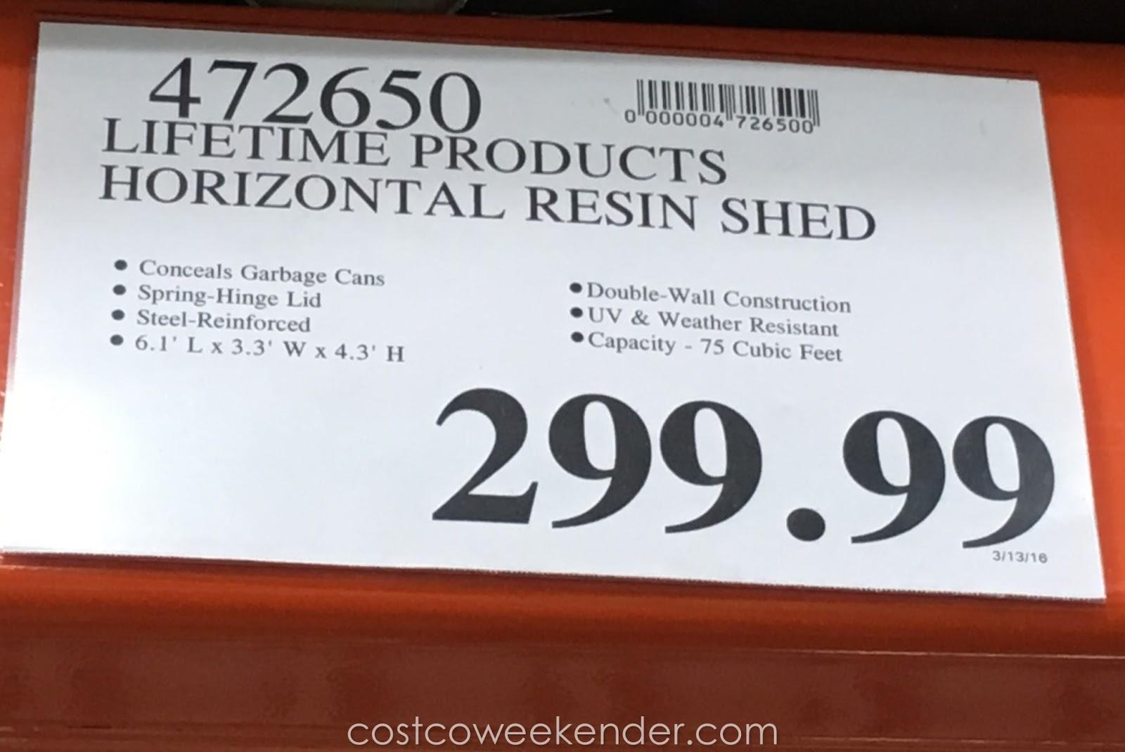 Lifetime Horizontal Resin Storage Shed Costco Weekender